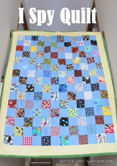 repinned:  Serving Pink Lemonade: I Spy Quilt (with ink jet printed squares)