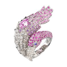 Boucheron THE PINK FLAMINGO RING PINK SAPPHIRE set with a pink sapphire, pavé pink sapphires, diamonds and two purple cabochon sapphires, in white gold