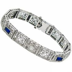 Edwardian Rectagular Cut Sapphire & 0.25ct Round Diamond 14k White Gold Bracelet - See more at: http://www.newyorkestatejewelry.com/bracelets/antique-sapphire-and-0.25ct--diamond-bracelet-/25103/6/item#sthash.ZhRRLpZ8.dpuf