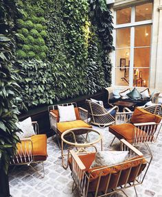 Tropical Home Upgrade – Indoor Vertical Garden and Living Wall - Andaziyar Cafe Seating, Outdoor Seating, Outdoor Spaces, Outdoor Living, Outdoor Decor, Outdoor Office, Exterior Design, Interior And Exterior, Modern Interior