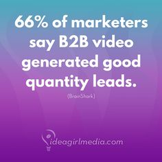 Are you using video content yet?  66% of marketers say B2B video generated good quality leads.   (We're working on new video content options for our social content clients in 2017...)