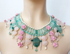 Flowers and shells romantic beads Necklace by colliermarguerite, $590.00