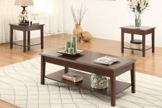 #2280 - 3 Piece Wood Coffee Table Set - Brown
