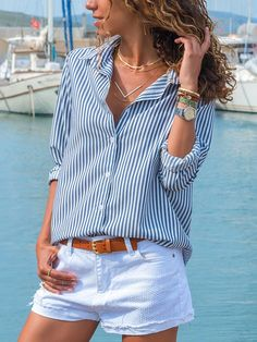 Turn Down Collar Single Breasted Striped blouse for women blouse for women casual blouse for women work blouse for women chic blouse for women summer Casual Skirt Outfits, Short Outfits, Spring Outfits, Cute Outfits, Shorts Outfits Women, Chambray Shirt Outfits, White Converse Outfits, Blouse Outfit, Work Blouse