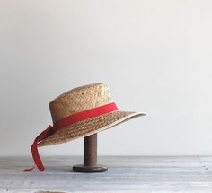 Vintage Straw Hat with Red Grosgrain Ribbon Band / Woven Straw Summer Sun Hat