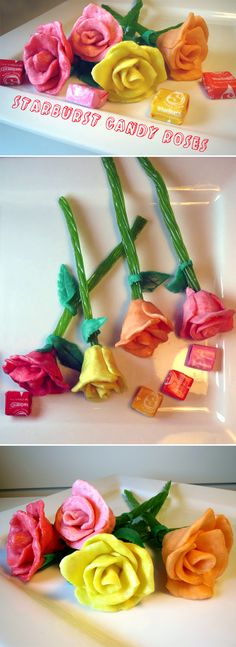 These Starburst candy roses are incredibly simple, cheap, and fun to make! MoreThese Starburst candy roses are incredibly simple, cheap, and fun to make! Edible Crafts, Food Crafts, Edible Art, Candy Art, Candy Crafts, Candy Diys, Starburst Candy, Bar A Bonbon, Candy Flowers