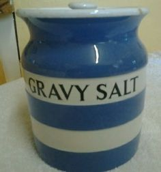 Cornish Ware Gravy Salt jar. Unusual in it being larger than a spice jar at 5""