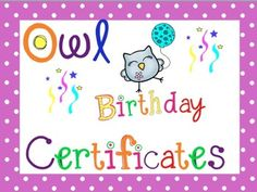 Happy Birthday Owl, Birthday Certificate, Orange Pink, Pink Black, Yellow, Classroom Management, Different Colors, Afrikaans Language, Balloons