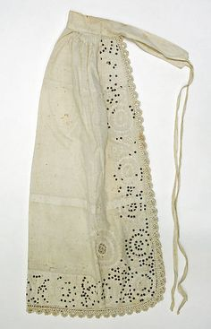 Ancient apron with great ties. Crosses to front to tie, but does not waste fabric. Brilliant! AA