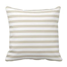 Modern Tan Beige White Stripes Throw Pillow  Save 15% on all pillow orders! LAST DAY Use Code: ZAZTAXSAVING
