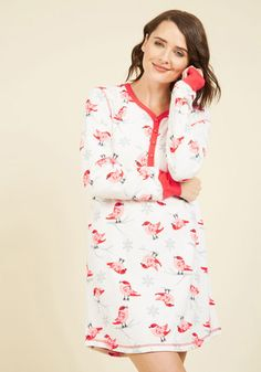 Birds of a Weather Pattern Nightgown in Red, @ModCloth