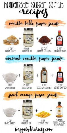 diy Beauty gommage - Homemade Sugar Scrub DIY - Happily the Hicks Sugar Scrub Homemade, Sugar Scrub Recipe, Homemade Skin Care, Diy Skin Care, Coconut Oil Sugar Scrub, Homemade Gifts, Homemade Face Scrubs, Homemade Exfoliating Scrub, Body Scrub Recipe