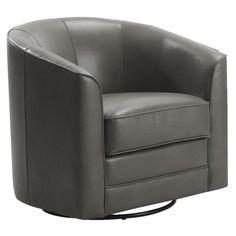 Emerald Home Furnishings Milo Bonded Leather Swivel Chair - Gray - U5029C-04-03