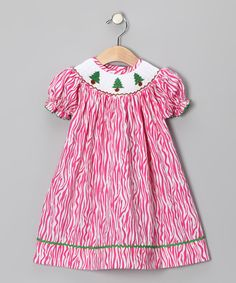 Take a look at this Pink Zebra Christmas Tree Bishop Dress - Infant, Toddler & Girls by Sweetly Stitched: Kids' Smocking on #zulily today! Check out these fresh looking prints!