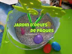 Jardin d'œufs de Pâques par Gribouille éducatif Pudding, Desserts, Food, Gardens, Sensory Activities, Tailgate Desserts, Deserts, Custard Pudding, Essen