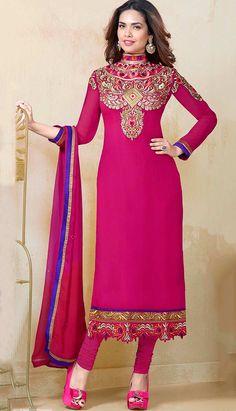 Pink Georgette Churidar Suit with Pink Dupatta, Full Sleeve Kameez, Below Knee Length Kameez Diwali Dresses, Diwali Outfits, Pakistani Dresses, Indian Dresses, Salwar Kameez, Churidar Suits, Sarees Online India, Designer Salwar Suits, Lehenga Saree