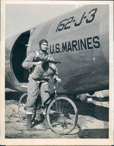 "WWII paratrooper and his columbia bicycle ""Bicycles were a much underrated instrument of war. Japanese made startling progress in the initial stages of WW II, paratroopers used fold bikes to advance."" KB"