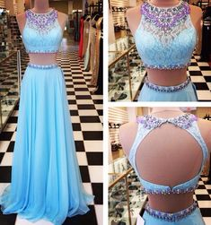 A Line Chiffon Turquoise Two Pieces Prom Dresses Crew Neck Beading CrystalsLace Accents Evening Dresses Party Gowns Vestidos Prom Dresses Two Piece, Formal Dresses For Teens, Backless Prom Dresses, Prom Dresses Blue, Pretty Dresses, Homecoming Dresses, Beautiful Dresses, Quinceanera Dresses, Dress Prom
