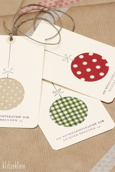 Christmas tags using circle punch and patterned paper..