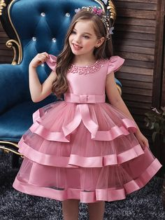 Girls Tiered Ruffle Princess Holiday Dress with Embellished Collar African Dresses For Kids, Dresses Kids Girl, African Fashion Dresses, Cute Dresses, Girls Dresses Sewing, Cute Little Girl Dresses, Baby Girl Party Dresses, Girls Christmas Dresses, Dress Party