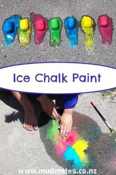 Frozen homemade ice chalk is made from basic household ingredients & is a great messy play, sensory, science & painting experience for kids of all ages.