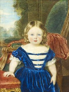 1st Child of Prince Albert (1819-1861) & Queen Victoria (1819-1901) & future wife of Frederick III German Emperor and King of Prussia (1831–1888).   Princess Victoria, Princess Royal (Victoria Adelaide Mary Louise)  (1840-1901) as a child in blue dress by Sir William Charles Ross.