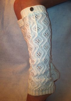 Must Have Cream knit Leg warmers knee high lacey socks boot socks cotton lace