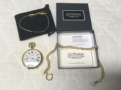 Gotham Men's Gold-Tone Mechanical Pocket Watch with Built-In Stand # GWC14045GA #Gotham