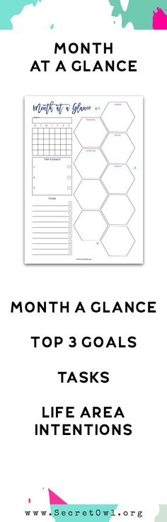 Monthly~Month at a Glance Printable - part of the Ultimate Life Binder Kit.