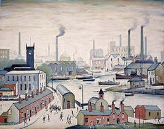Canal and Factories (1955) | L.S. Lowry | The scene depicted in this painting is based on cityscapes from Runcorn and Widnes, on the river Mersey.