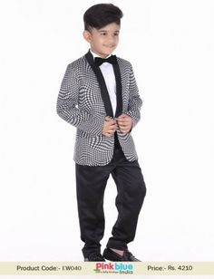 Unique Designer Boys Tuxedo Suit | Black and White Kids Wedding Suit | Toddler Boy Ring Bearer Outfit Set for 1 to 7 Years