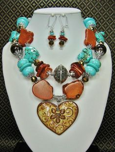 WESTERN ROMANCE - Cowgirl Necklace Set / Western Style Necklace / Brown & Howlite Turquoise Gemstone Necklace / Statement Heart NecklaceNOTE: pendant is brown.......picture shows a yellowish cast. - See more at: http://www.buckaroobay.com/catalog.php?item=7900#sthash.6rzwMMkB.dpuf