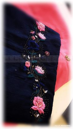 Embroidery Suits Punjabi, Hand Embroidery Dress, Kurti Embroidery Design, Couture Embroidery, Embroidery Saree, Silk Ribbon Embroidery, Hand Embroidery Patterns, Embroidery Works, Hand Work Design