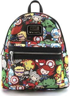 Loungefly x Marvel: Avengers Kawaii Mini Faux Leather Backpack Marvel Backpack, Mochila Jansport, Cute Mini Backpacks, Girl Backpacks, Marvel Fashion, Marvel Clothes, Faux Leather Backpack, Leather Bag, Diaper Bag Backpack