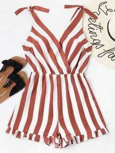 Summer No Ruffles Striped Sleeveless Plunging Regular Casual Daily Striped Ruffle Hem Romper Cute Summer Outfits, Cute Casual Outfits, Girl Outfits, Fashion Outfits, Casual Summer, Cute Summer Rompers, Rompers Women, Jumpsuits For Women, Women's Summer Fashion