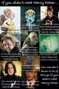 "If you didn't read the Harry Potter books then you wouldn't know any of these things (though I disagree about Wormtail ""sacrificing"" himself - I don't think he consciously meant to save Harry.)"