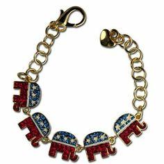 Crystal Republican Elephant Logo Bracelet Stars & Stripes Products. $30.00. 5 elephant bracelet. White enamel stars. Goldplate. Republican elephant logo bracelet. Red, blue and white diamond like Swarovski crystals