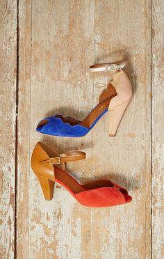 A peep toe shoe with
