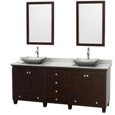 Acclaim 80 in. Double Vanity in Espresso with Marble Vanity Top in Carrara White, White Carrara Sinks and 2 Mirrors