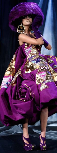 Dior ~ Artistic Couture Violet Full Skirt Dress w Mixed Print + Large Fabric Rose Skirt Detail 2013
