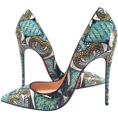 Pre-owned Christian Louboutin Nib Python Inferno So Kate 120mm Heels... ($999) ❤ liked on Polyvore featuring shoes, pumps, heels, high heels, scarpe, green, green high heel shoes, christian louboutin shoes, snake print pumps and snake skin pumps