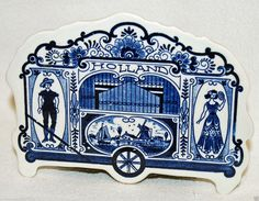Vintage Dutch Blue White DELFT Hand Painted Holland Circus Wagon Music Box | eBay