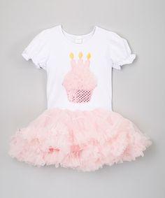 Light Pink Three-Candle Cupcake Tutu Dress - Toddler #zulily #zulilyfinds