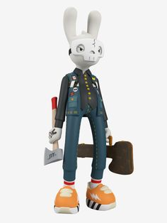 The second giant tall vinyl art toy variant by legendary synthetic hip-hop horror star Guggimon is here! 'High Voltage' is all dressed up in his Canadian tuxedo and ready for havoc with axe, 'guitar case,' mask, and a bad attitude on the back of 3d Model Character, Character Concept, Vinyl Toys, Vinyl Art, Lidl, Zbrush, Cyberpunk Art, Cyberpunk Character, Character Design Animation