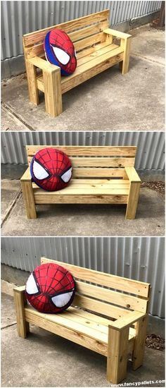Easy And Amazing Wooden Pallet Bench - Pallet Ideas Diy Pallet Sofa, Pallet Bench, Pallet Patio, Wood Pallet Furniture, Diy Pallet Projects, Wood Projects, Pallet Dining Table, Diy Outdoor Table, Patio Table
