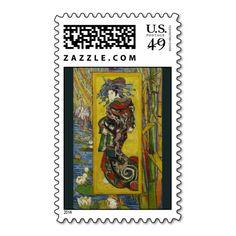 Courtesan (after Eisen) by Vincent Van Gogh Stamp