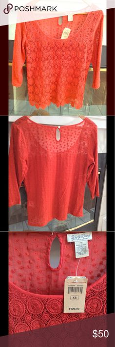 Lucky Brand crochet top 3/4 sleeve red crochet top with wide scoop neck and button back. Says XS but fits a small or medium  Front: 100% cotton  Back: 53% cotton 47% rayon Lucky Brand Tops Tees - Long Sleeve
