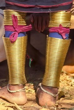 Myanmar | The brass leg rings of a Padaung woman, Moephyie village, near Loi Kaw, eastern Burma.  | ©Michael Freeman