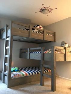 Really Like The Disigne Of These Triple Bunk Beds Gard Rails And Laders Could Put A Set Drawers Under Middle Or Some Faberik To Turn That