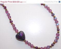ON SALE Amethyst Dichroic Heart Necklace by EriniJewel on Etsy, $17.60